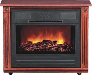 Heat Surge HS-RG3 Amish Crafted Roll-n-Glow Electric Space Heater Fireplace (Cherry), 1500W, 4600BTU,Caster Rollers, FirelessFlame,325 sq. ft. Coverag