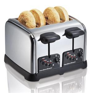 Hamilton Beach 24790 - 4 Slice Classic Chrome Toaster, Bagel Setting, 4 Toasting Functions, Toast Boost, Extra Wide Slots, Crumb Tray, Auto Shut Off