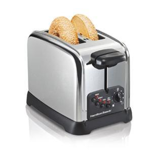 Hamilton Beach 22790, 2 Slice, Classic Chrome, Toaster, Bagel Setting, 4 Toasting Functions, Toast Boost, Extra Wide Slots, Crumb Tray, Auto Shut Off