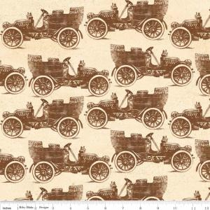 "Riley Blake Designs C2711 Cream Grandma's House Car 15Yd Bolt 7.34 A Yd 100% Cotton  45""Fabric"