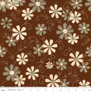 "Riley Blake Designs C2712 Brown Grandma's House Floral 15Yd Bolt 7.34 A Yd 100% Cotton  45""Fabric"
