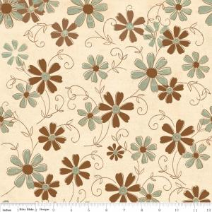"Riley Blake Designs C2712 Cream Grandma's House Floral 15Yd Bolt 7.34 A Yd 100% Cotton  45""Fabric"