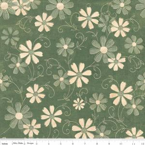 "Riley Blake Designs C2712 Green Grandma's House Floral 15Yd Bolt 7.34 A Yd 100% Cotton  45""Fabric"