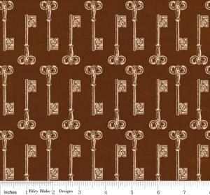"""Riley Blake Designs C2713 Brown Grandma's House Keys 15Yd Bolt 7.34 A Yd 100% Cotton  45""""Fabric"""