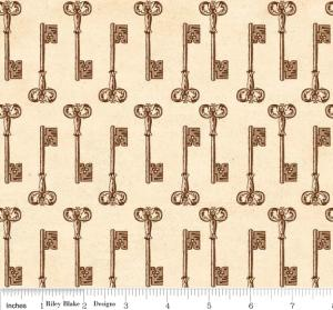 "Riley Blake Designs C2713 Cream Grandma's House Keys 15Yd Bolt 7.34 A Yd 100% Cotton  45""Fabric"