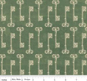 "Riley Blake Designs C2713 Green Grandma's House Keys 15Yd Bolt 7.34 A Yd 100% Cotton  45""Fabric"