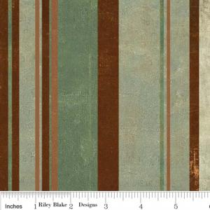 "Riley Blake Designs C2715 Green Grandma's House Stripe 15Yd Bolt 7.34 A Yd 100% Cotton  45""Fabric"