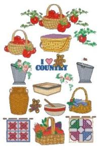 Down Home Dreams 184 I Love Country Baskets Embroidery Disk