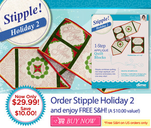 32810: DIME STP0100 Stipple! Holiday 2, Seven Embroidery Designs CD for Blocks