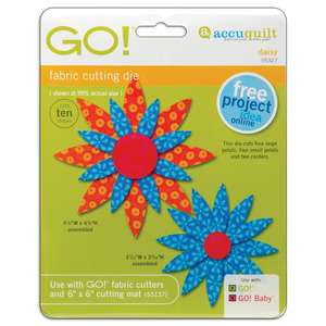 AccuQuilt, GO!,  55327, Daisy, Die, Two, Sizes, Petals, Circles, accu, quilt, cutting, board