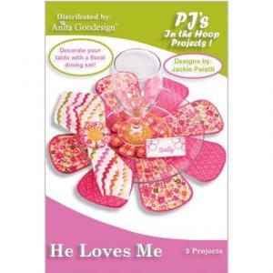 Anita Goodesign 25PJ He Loves Me Quilt Embroidery Design Pack on CD