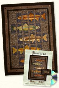 Lunch Box Quilts and Designs  93 4333 About Trout Applique Embroidery Design Pack on CD
