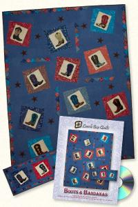 Lunch Box Quilts and Designs 93 4332 Boots And Bandanas Applique Embroidery Design Pack on CD,8 cowboy boots, two star embroidery machine appliques