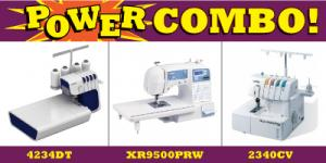 Brother 3 in 1 Combo, Top of Line 4234DT Easiest to Thread Serger, 2340CV Cover Hemmer, XR9500PRW Project Runway Computer Sewing Machine & Font