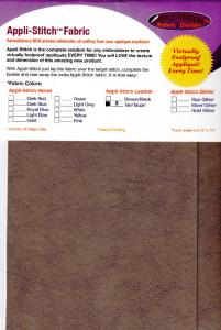Floriani R-L22 Appli Stitch Leather 2 Per Pack, 6.75x12'' Sheets Brown