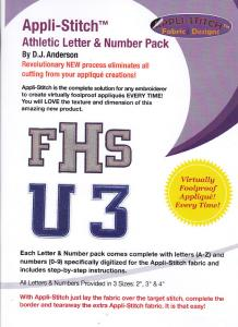 Floriani's Appli-Stitch  R-ASF Athletic Lettering & Number Applique Design Collection