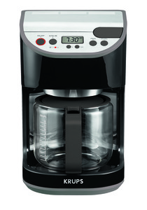 Krups KM611850 Precision 12 Cup Coffee Maker 1100W, Black Stainless Steel, Die Cast Alum Const, Glass Carafe, Program Auto On Off , Duo Filter, Clock