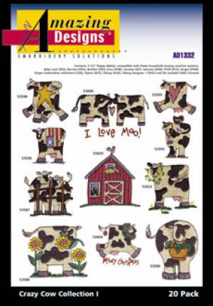Amazing Designs 1332 Great Notions 20 Crazy Cows Muli-Formatted Embroidery CD
