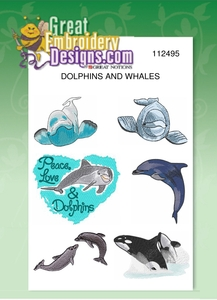 "Great Notions GNDOL Jumbo Dolphins Whales Designs CD for 5X7"" Hoop"