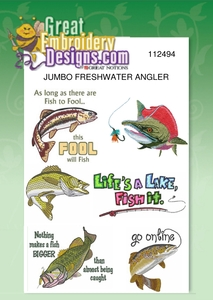 Great Notions Jumbo Freshwater Angler Designs 5X7 Hoop Multi-Formatted CD