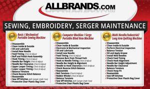 Repair, Sewing Machine Repair, Serger Repair, Embroidery Repair, Service, sewing machine service, Allbrands,  Home Sewing, Embroidery Machine, Repair Service, Miminum $99, Charge Plus, $25 Return, Shipping, Plus Mechanical Adjustments, and Parts, Est