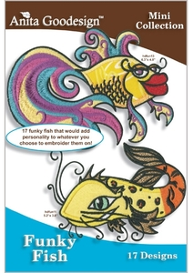 Anita Goodesign 129MAGHD Funky Fish  Embroidery Design Pack on CD