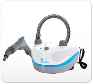 SteamFast SF-320 White Compact Handheld Fabric Garment Steamer 1300W, 33oz, 30 Minute, 5Lb, Home, Work Travel, Remove Wrinkles, Freshen