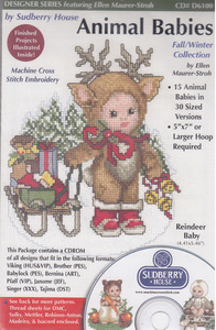Sudberry House D6100 Animal Babies-Fall & Winter Machine Cross Stitch Embroidery 15 Designs Multi-Form CD