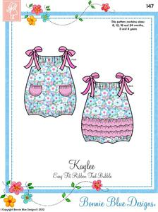 Bonnie Blue, BBDP147, Kaylee Fun, Bubble Sunsuit, Sewing Pattern, Sz 6mo-4Yrs
