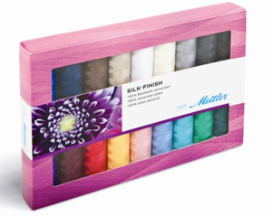 Mettler Metrosene SF18-KIT Silk Finish Sewing 100% Cotton Thread Collection Gift Pack Kit, 18 Most Popular Color Spools, 164 Yards, 150 Meters Each
