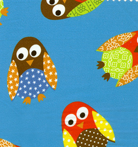 Fabric Finders #1257 Owls on Turquoise  Print 15 Yd Bolt 9.34 A Yd100% Cotton 60""