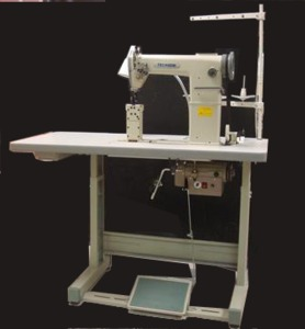 "TechSew 810-2 Double Needle 7"" Post Bed Roller Foot, Bottom Feed Leather Stitcher Sewing Machine/Power Stand"