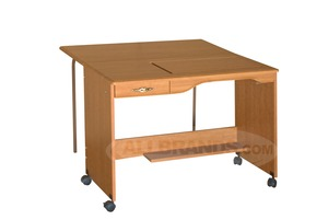 "Fashion, (Roberts), 387-Q Manual, Quilting, Embroidery, Table, in Maple, or White, with W 47H Drop Leaf 42"" W x 19 3/4"" D"