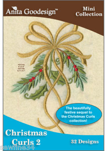 Anita Goodesign 115MAGHD  Christmas Curls 2 Embroidery Design Pack on CD