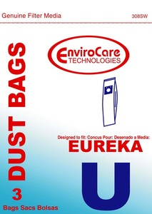 Eureka Replacement Er-14215 Paper Bag, Eur Style U   Bravo/Powerline Env 3Pk