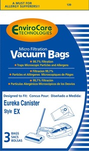 Eureka Replacement Er-1435 Paper Bag, Eur Style Ex  Microfilter Env 3Pk