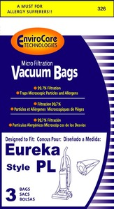 Eureka Replacement Er-1446 Paper Bag, Style Pl 4750 Upright Micro Env 3Pk