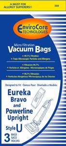 Eureka Replacement Er-1451 Paper Bag, Eur Style U   Micro W/Closure Env 3Pk
