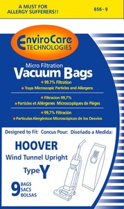 Hoover Replacment Hr-14553-9 Paper Bag, Hoover Type Y Micro W/Closure Env 9Pk