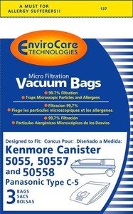 Kenmore Replacement Ker-14550 Paper Bag, Style C 5055  Micro W/Closure Env 3Pk