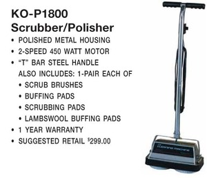 Koblenz P-1800 Hardfloor Scrubber Polisher Buffer P1800, 4.2 Amps, 2 Speeds, Chrome Handle, Metal Hood, 4 Pairs Brushes & Pads, No Tank, 099053020806