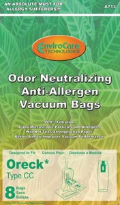 Oreck Or-1437A Paper Bag, Cc Allergen   Cloth Charcoal Env 8Pk