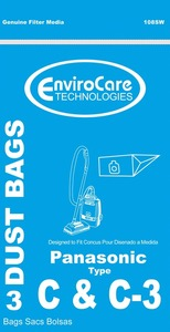 Panasonic Replacement Pr-14255 Paper Bags 3Pk, Pano Type C/C3 Canister Enviro
