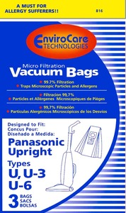 Panasonic Replacement Pr-14313 Paper Bag, Type U6 Micro W/Closure Env 3Pk