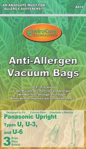 Panasonic Replacement Pr-14313A Paper Bag, Pan Style U/U3/U6 Allergen Env 3Pk
