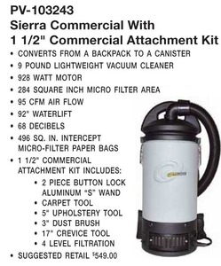 "Pro-Team PV 103243 Sierra Commercial Backpack Vacuum, 859-928W, 7.5A, 95-124CFM, 92"" Lift, 50' Cord, 3 Filter, 1.5"" Wand, 5Pc Tool Kit, P3 E-Z, 10Lbs"