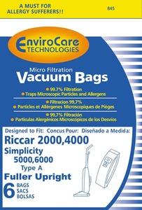 Riccar/Simplicity Replacment Rsr-1431 Paper Bag, Ric 2000 4000 Sim 5000 6000 Type A 6Pk