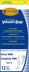 Riccar/Simplicity Replacment Rsr-1432-12 Paper Bag, Ric 8000 8900 Sim 7000 Type B Mcro 12Pk