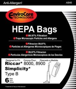 Riccar/Simplicity Replacment Rsr-1432H Paper Bag, Ric 8000 8900 Sim 7000 Type B Hepa 6Pk