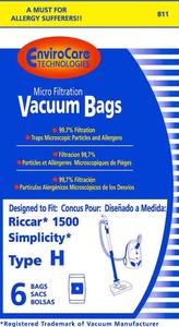 Riccar/Simplicity Replacment Rsr-1443 Paper Bag, 500 1500 Type H Micron 6Pk